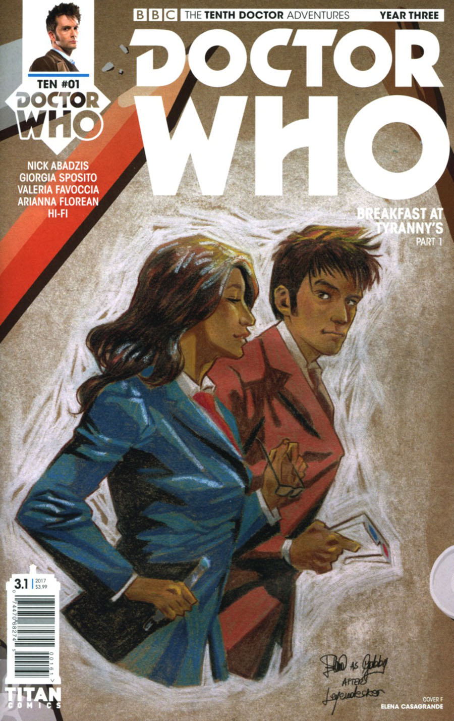 Doctor Who 10th Doctor Year Three #1 Cover F Variant Elena Casagrande Cover
