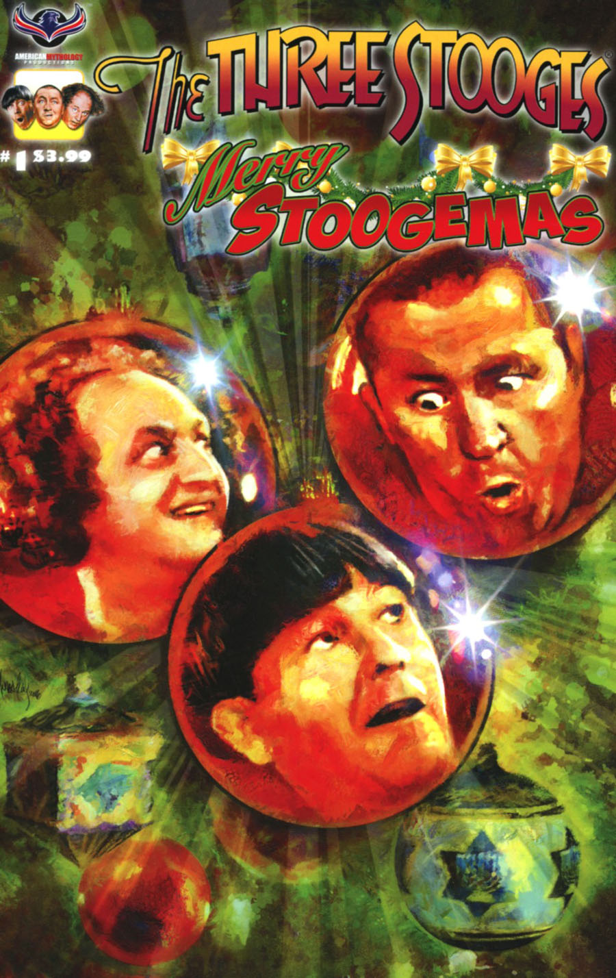 Three Stooges Merry Stoogemas Cover A Regular Mark Wheatley Cover
