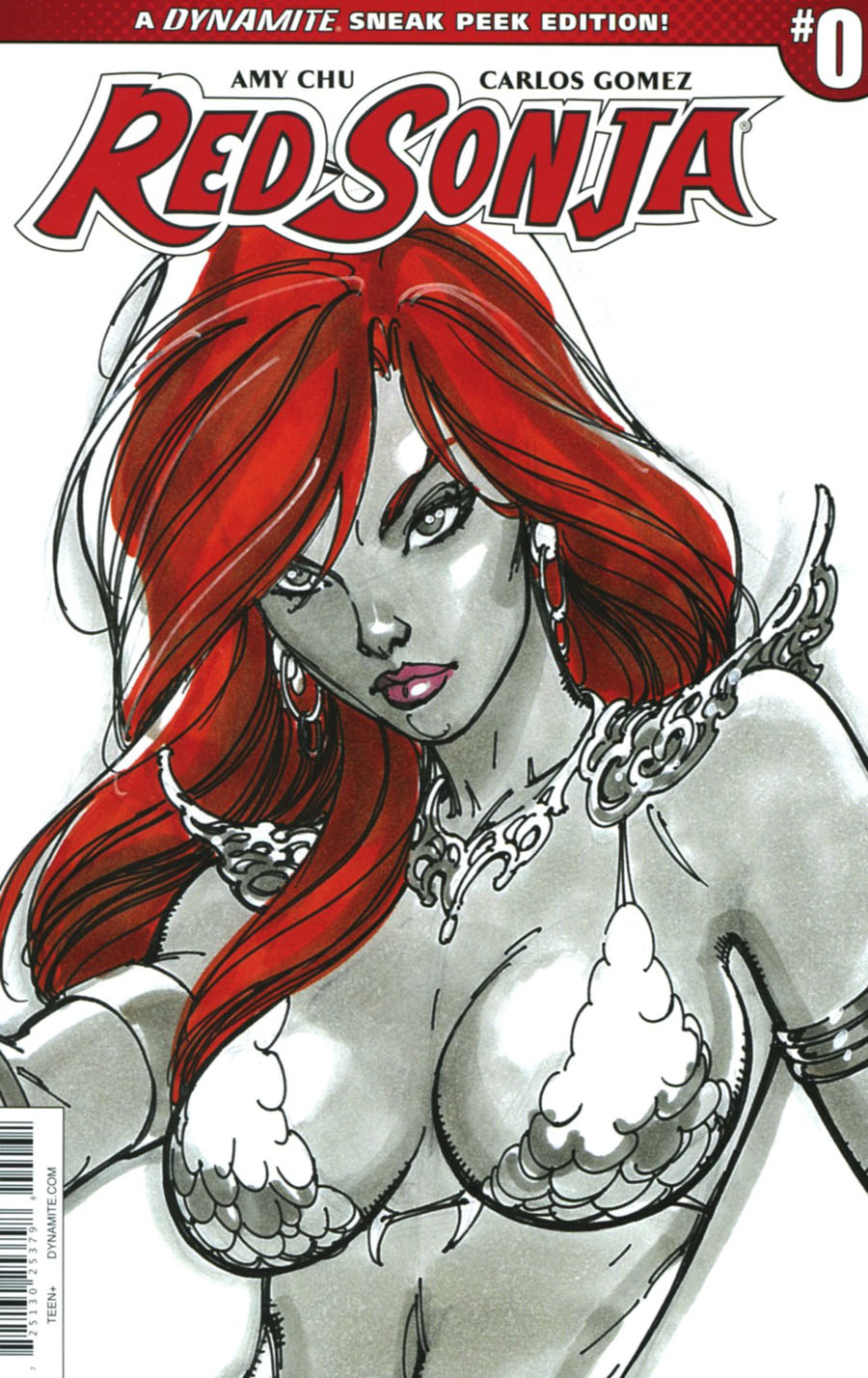 Red Sonja Vol 7 #0 Cover C Incentive J Scott Campbell Sneak Peek Variant Cover