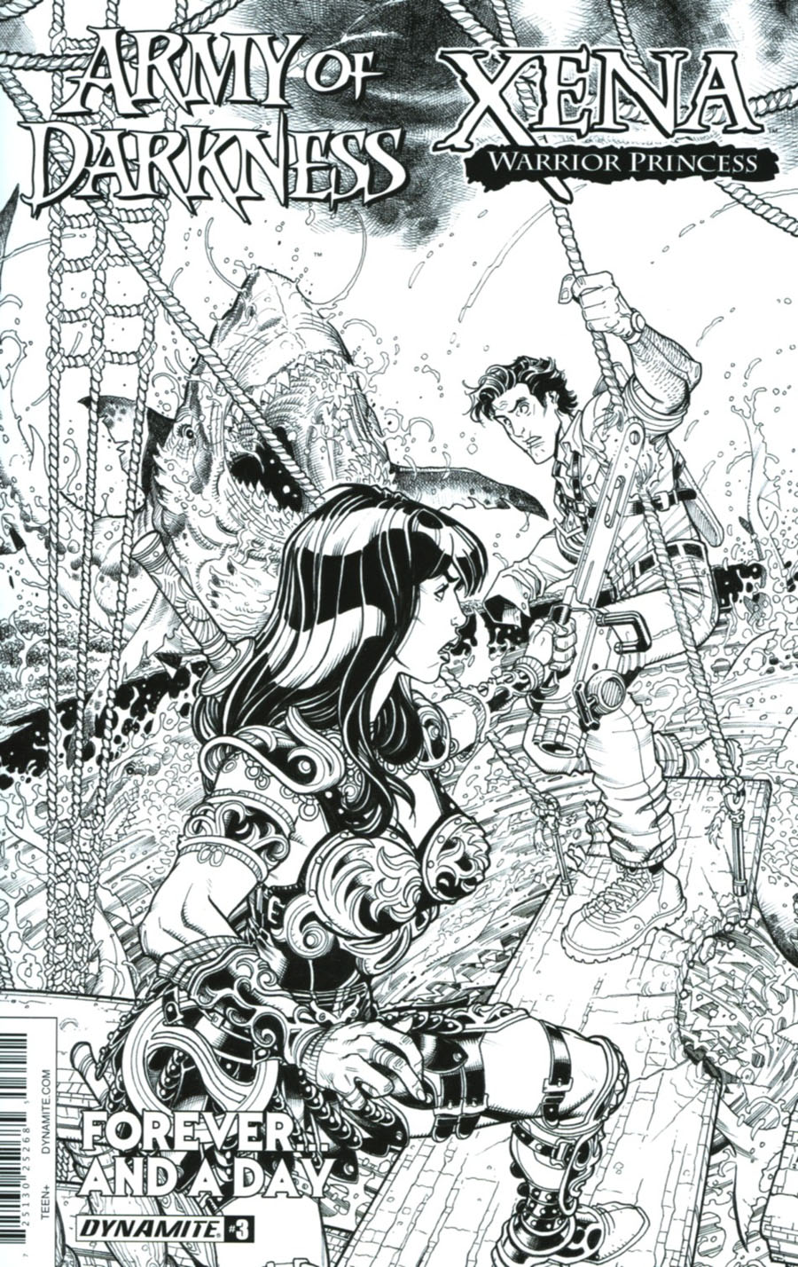 Army Of Darkness Xena Forever And A Day #3 Cover B Incentive Nick Bradshaw Black & White Cover