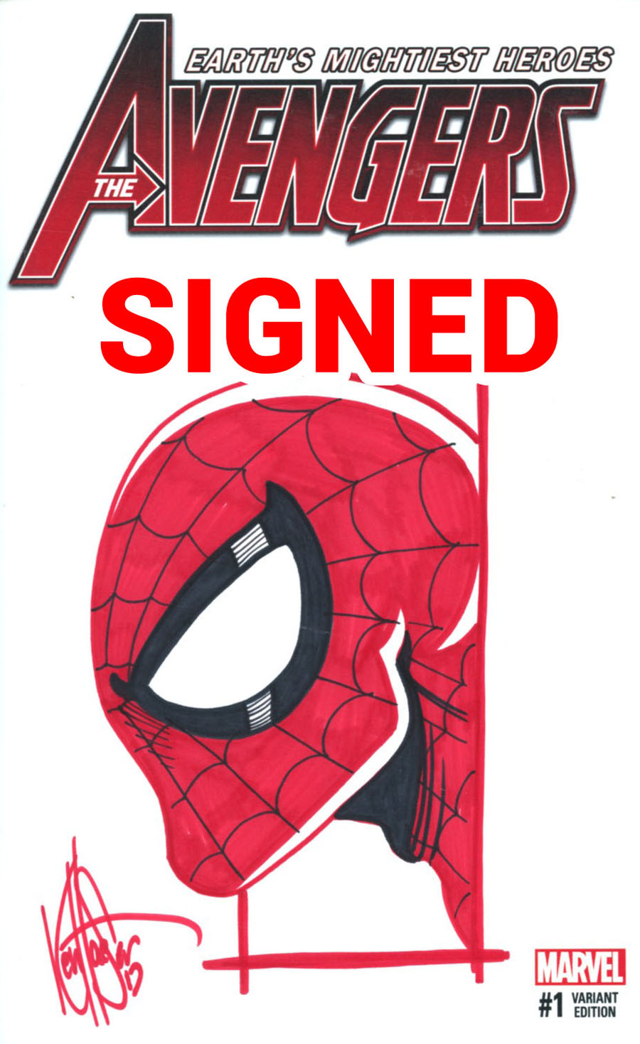 Avengers Vol 6 #1 Cover K DF Variant Blank Cover Signed & Remarked By Ken Haeser (Marvel Now Tie-In)