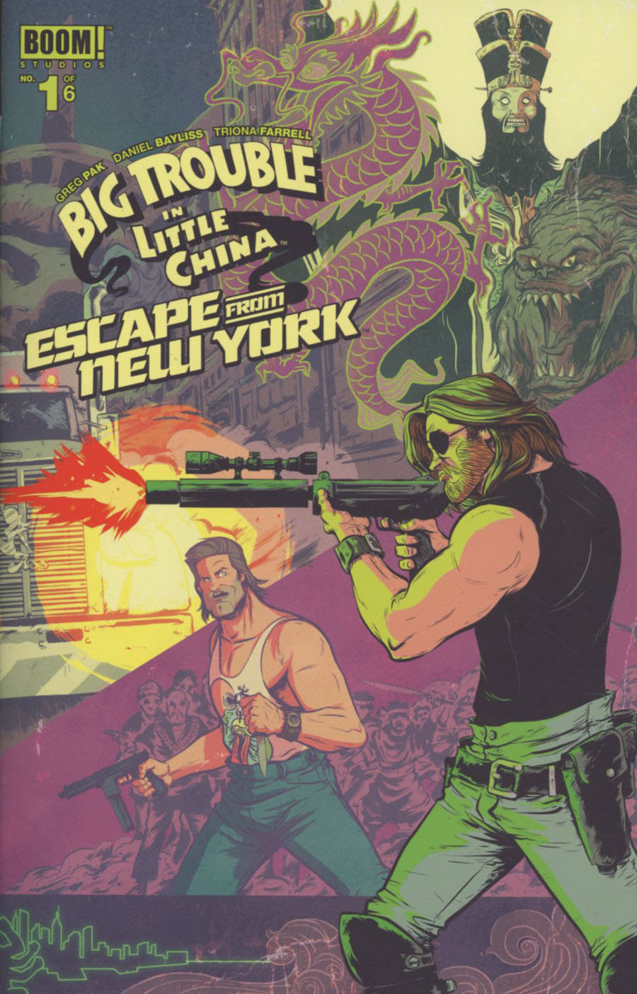 Big Trouble In Little China Escape From New York #1 Cover B Regular Daniel Bayliss Snake Plissken Foreground Cover