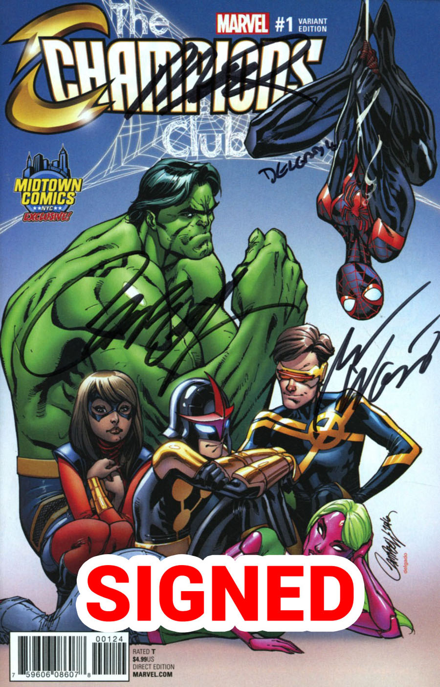 Champions (Marvel) Vol 2 #1 Cover T Midtown Exclusive J Scott Campbell Color Variant Cover Signed By Creators (Limit 1 Per Customer)