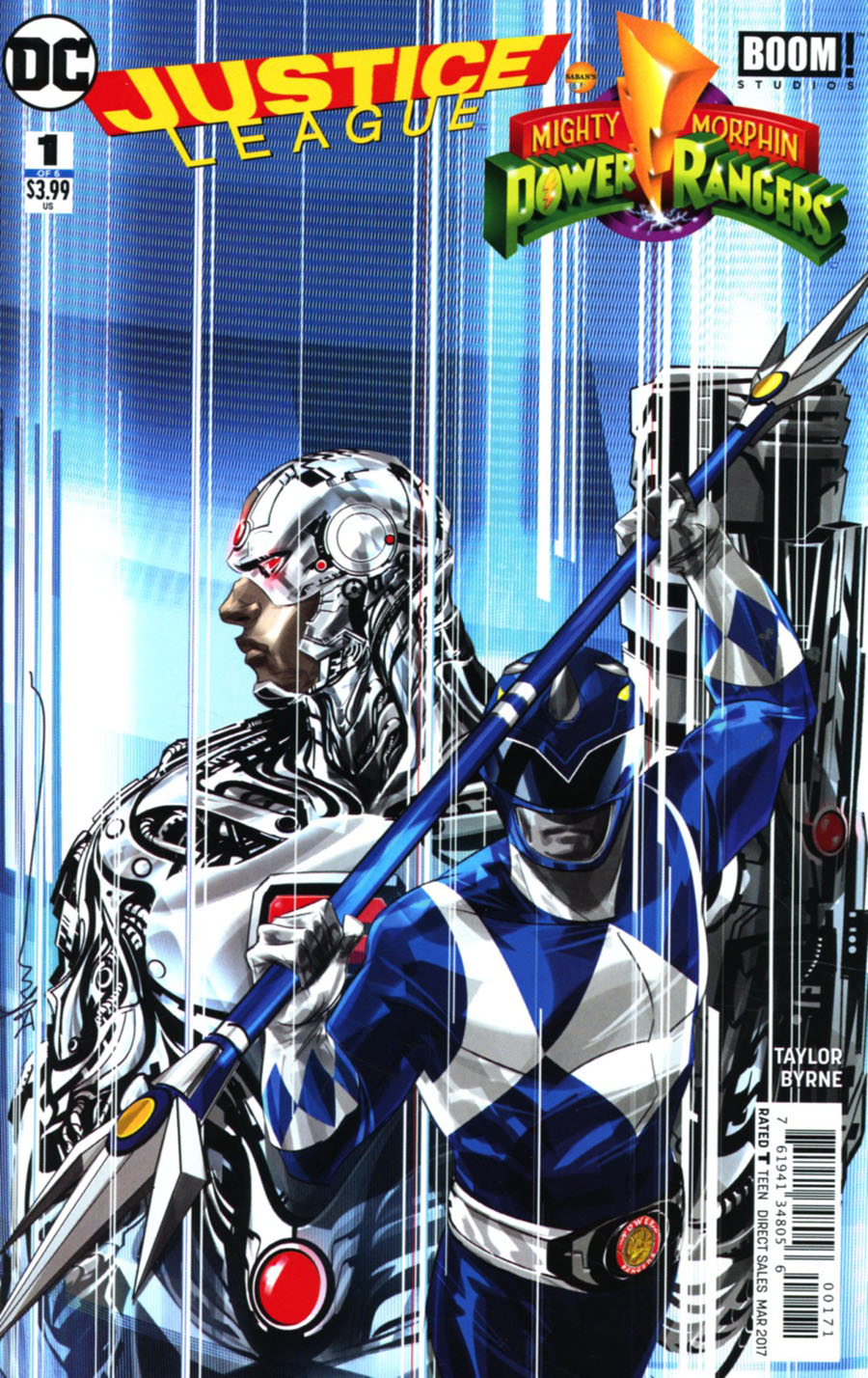 Justice League Power Rangers #1 Cover C Variant Dustin Nguyen Cyborg Blue Ranger Cover