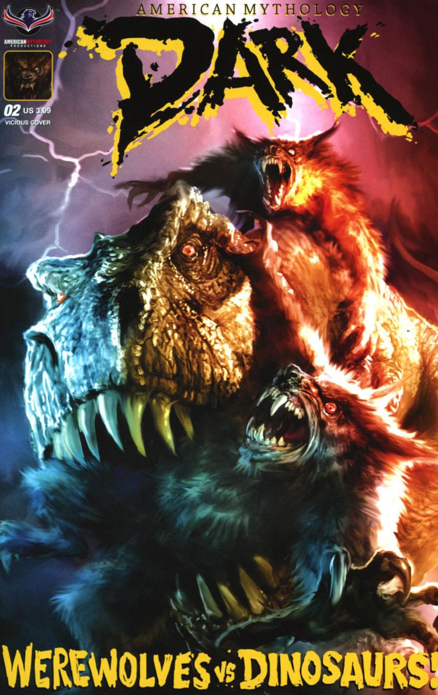 American Mythology Dark Werewolves vs Dinosaurs vs Yetis Cover B Variant Chris Scalf Cover