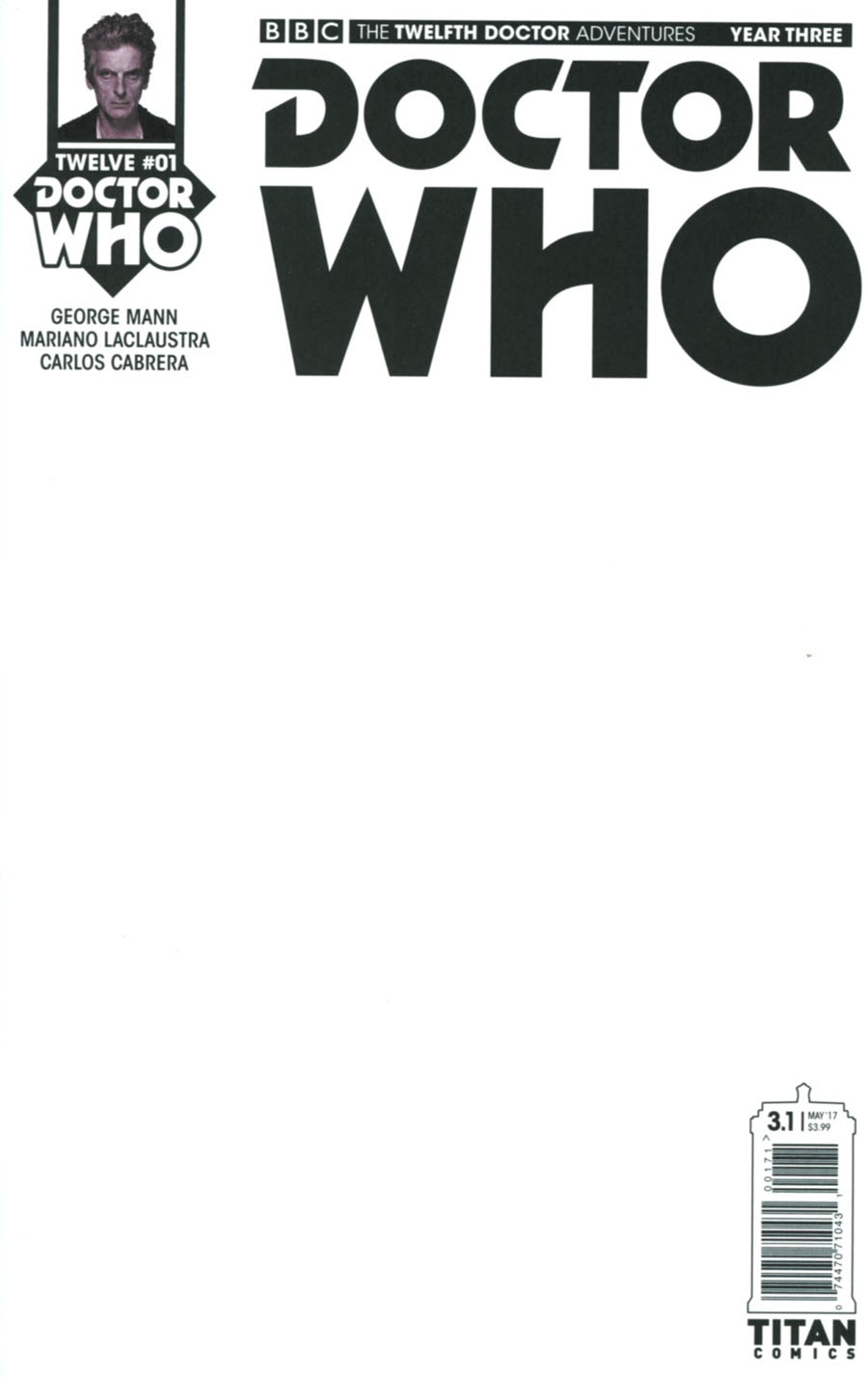 Doctor Who 12th Doctor Year Three #1 Cover G Variant Blank Cover
