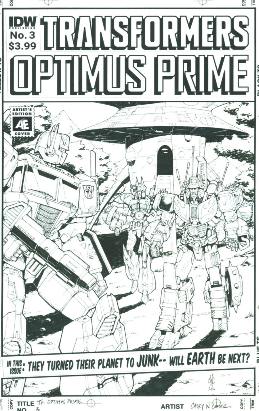 Optimus Prime #3 Cover B Variant Casey Coller Artists Edition Cover