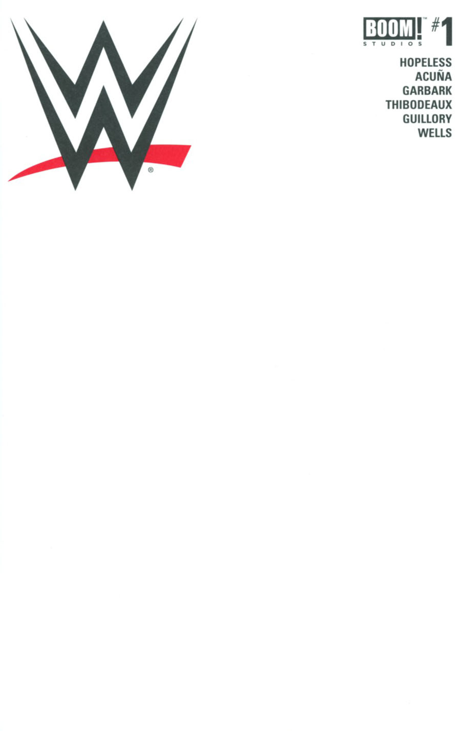 WWE #1 Cover C Variant Blank Cover