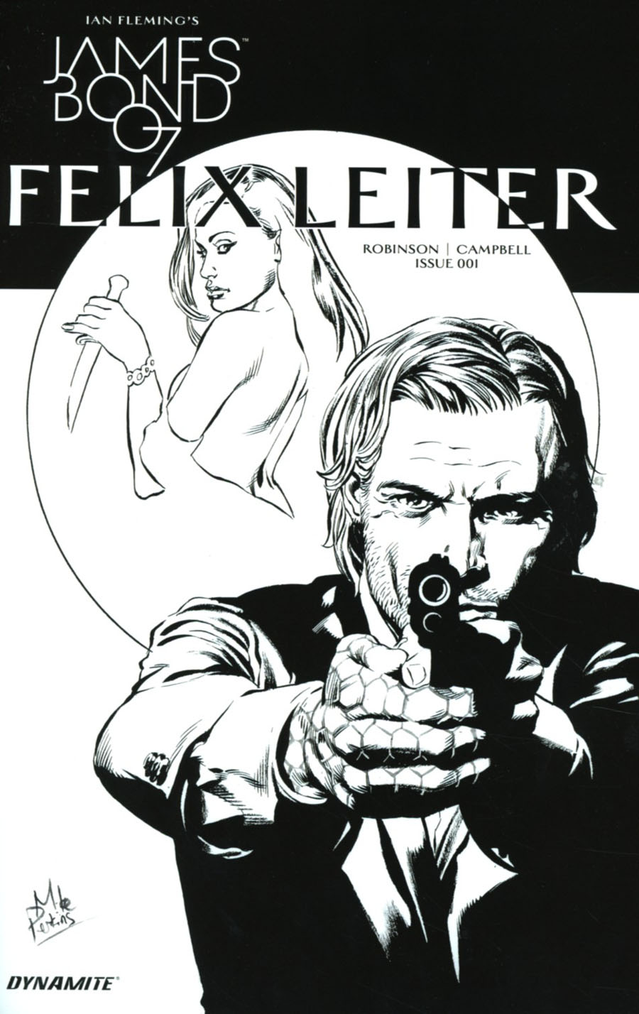 James Bond Felix Leiter #1 Cover C Incentive Mike Perkins Black & White Cover