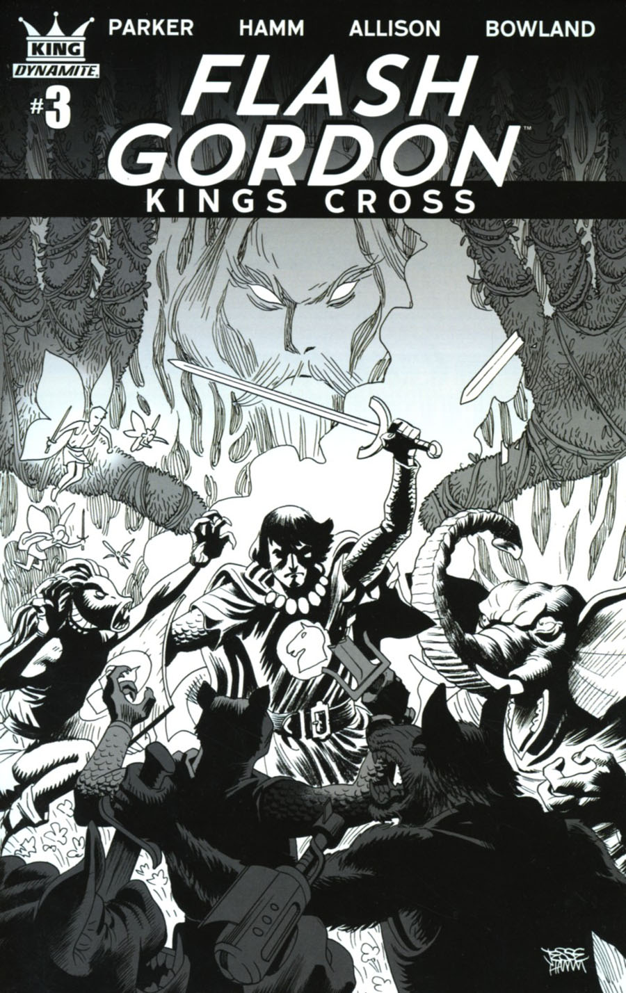 Flash Gordon Kings Cross #3 Cover D Incentive Jesse Hamm & Grace Allison Black & White Cover