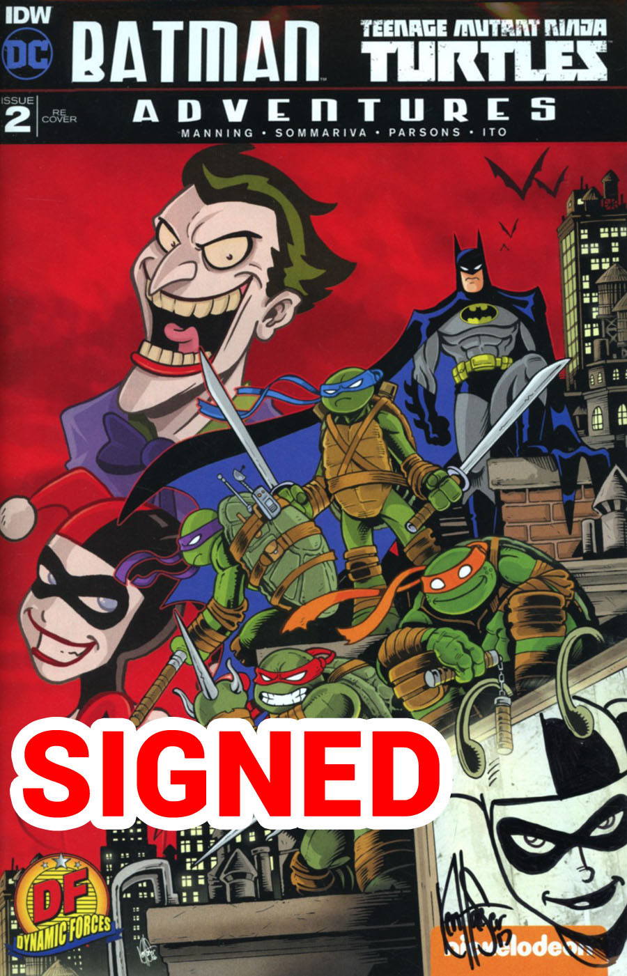 Batman Teenage Mutant Ninja Turtles Adventures #2 Cover G DF Exclusive Signed & Remarked By Ken Haeser With A Harley Quinn Sketch Variant Cover