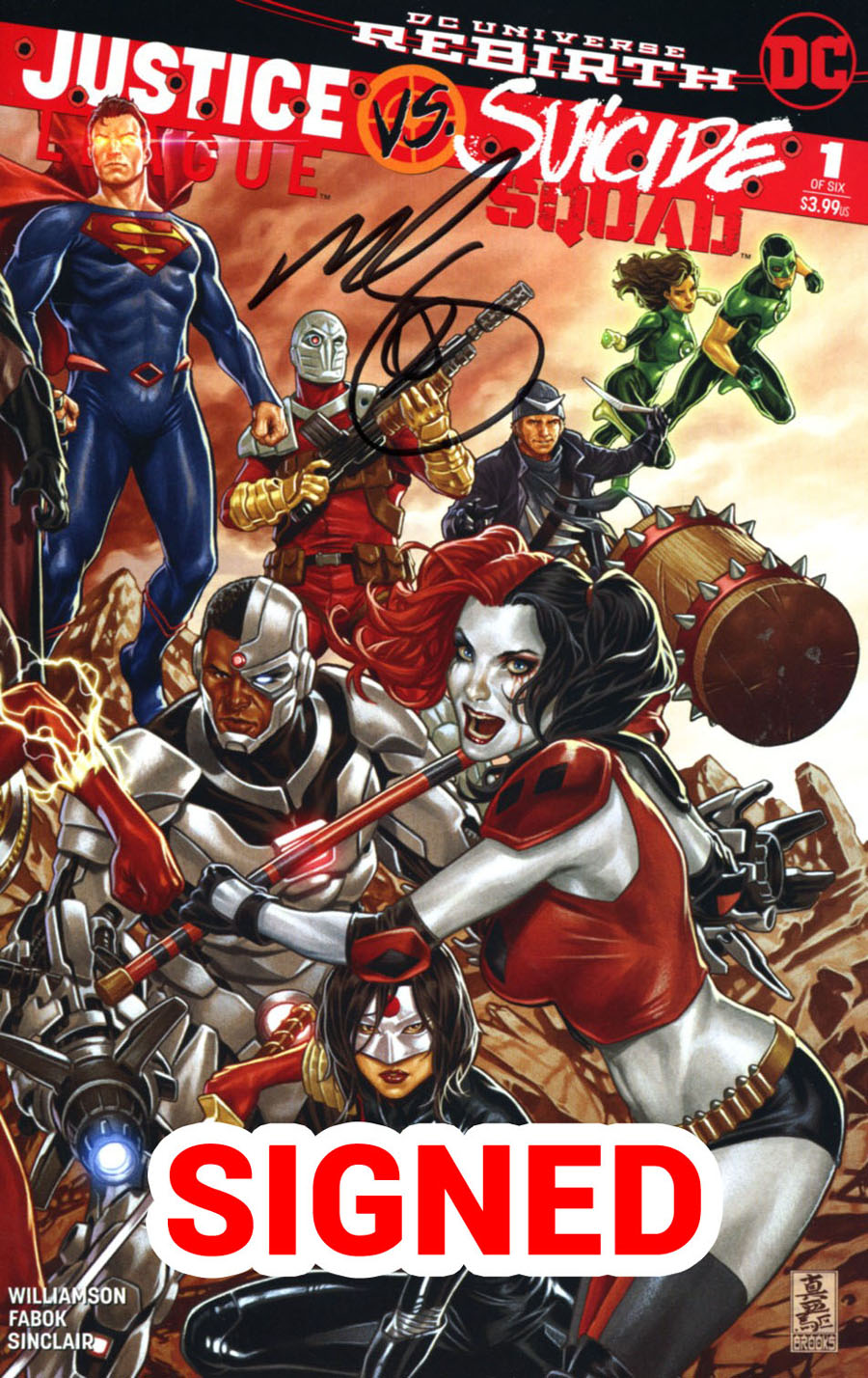 Justice League vs Suicide Squad #1 Cover H Midtown Exclusive Mark Brooks Connecting Variant Part 2 Cover Signed By Mark Brooks