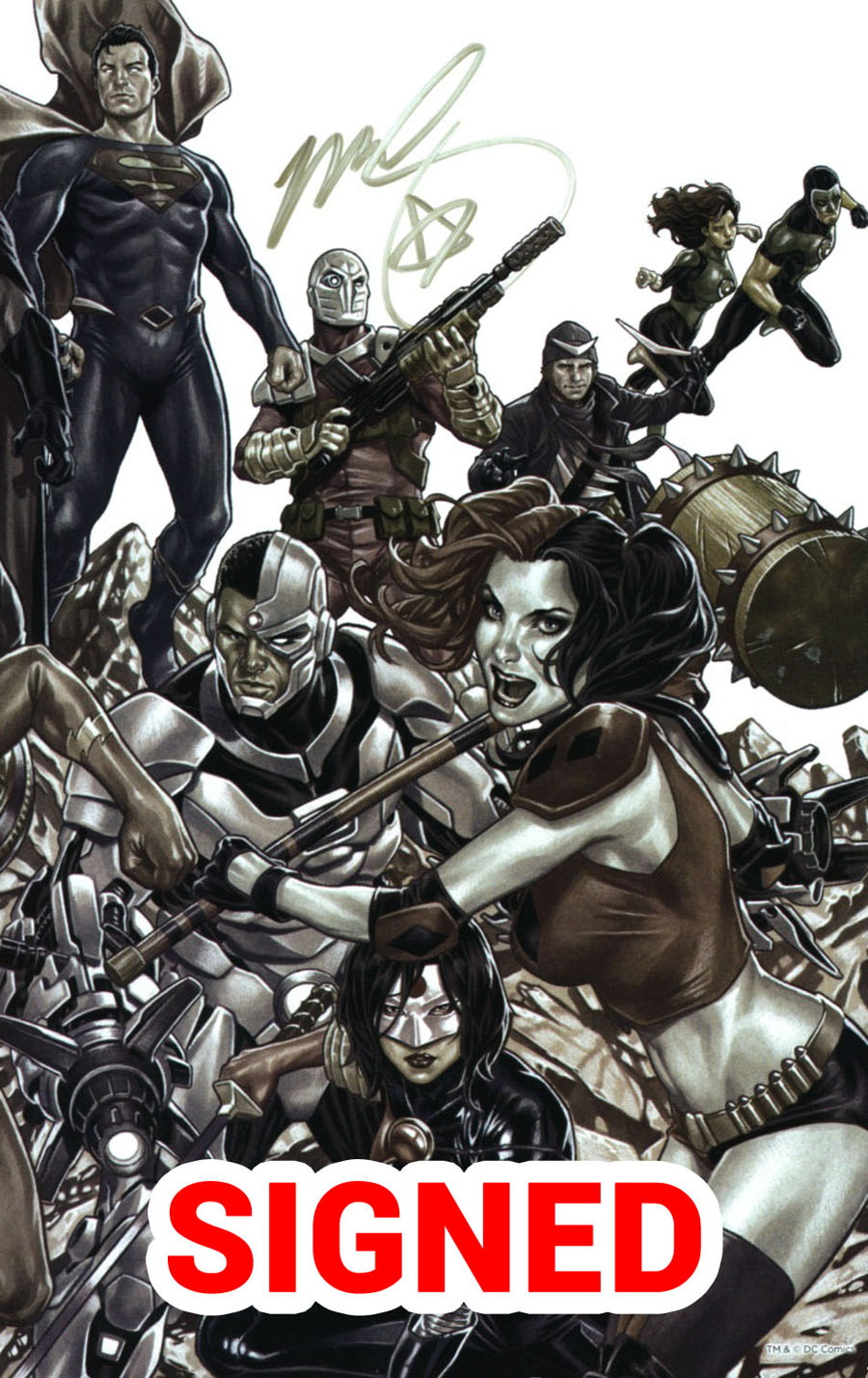 Justice League vs Suicide Squad #1 Cover I Midtown Exclusive Mark Brooks B&W Wraparound Virgin Cover Signed By Mark Brooks