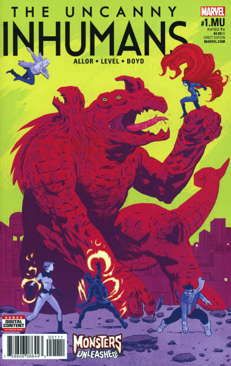 Uncanny Inhumans #1.MU Cover A Regular Michael Walsh Cover (Monsters Unleashed Tie-In)