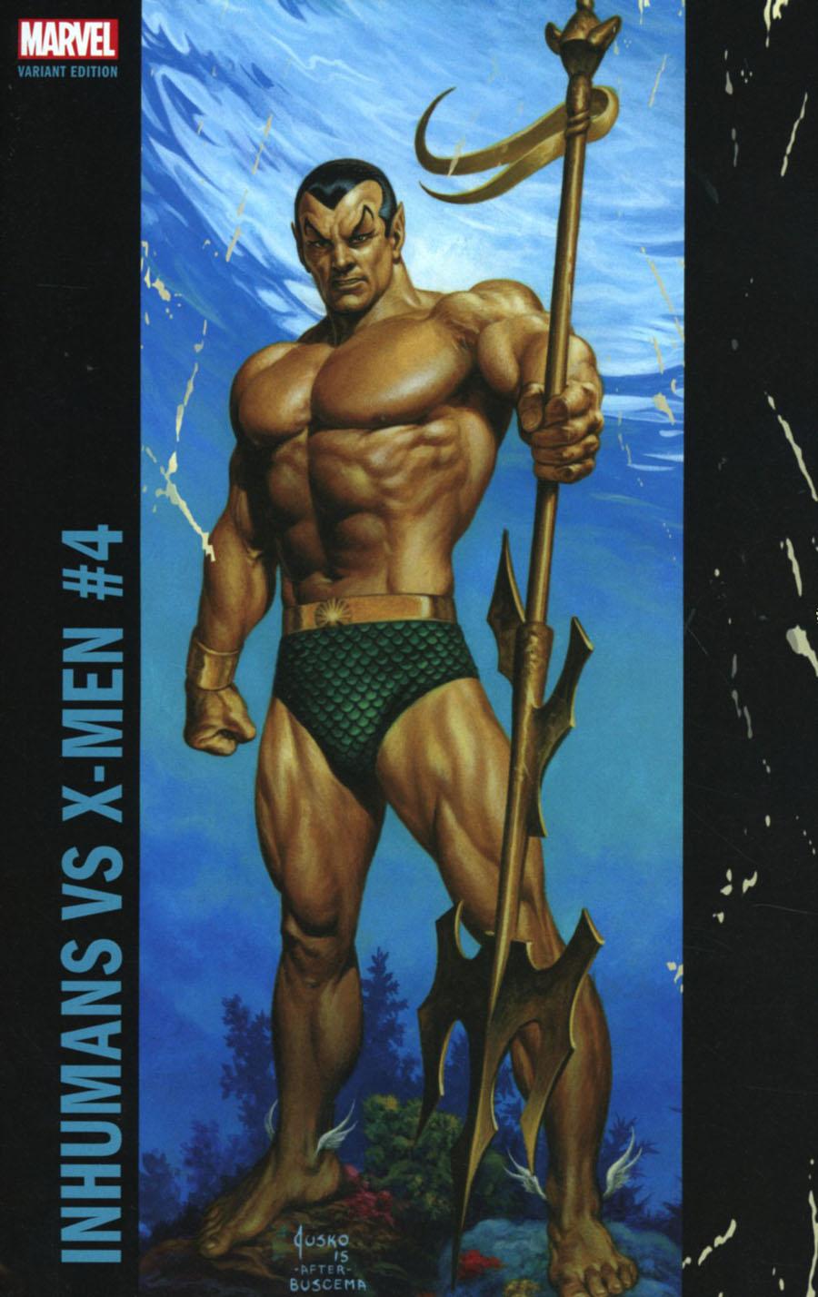 Inhumans vs X-Men #4 Cover E Variant Joe Jusko Corner Box Cover