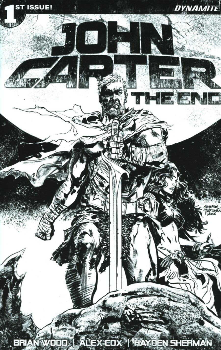 John Carter The End #1 Cover H Incentive Gabriel Hardman Black & White Cover