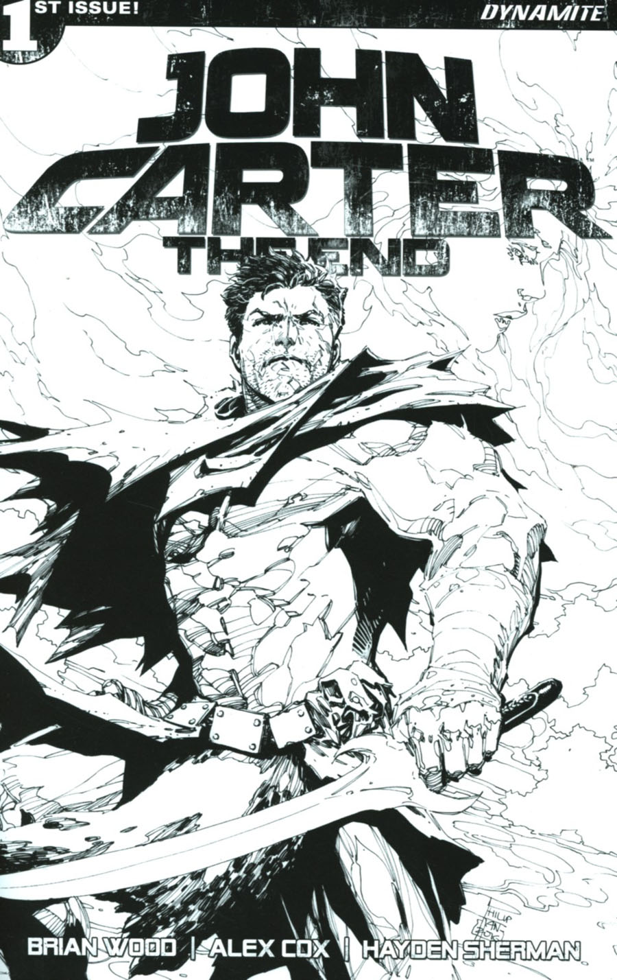 John Carter The End #1 Cover J Incentive Philip Tan Black & White Cover