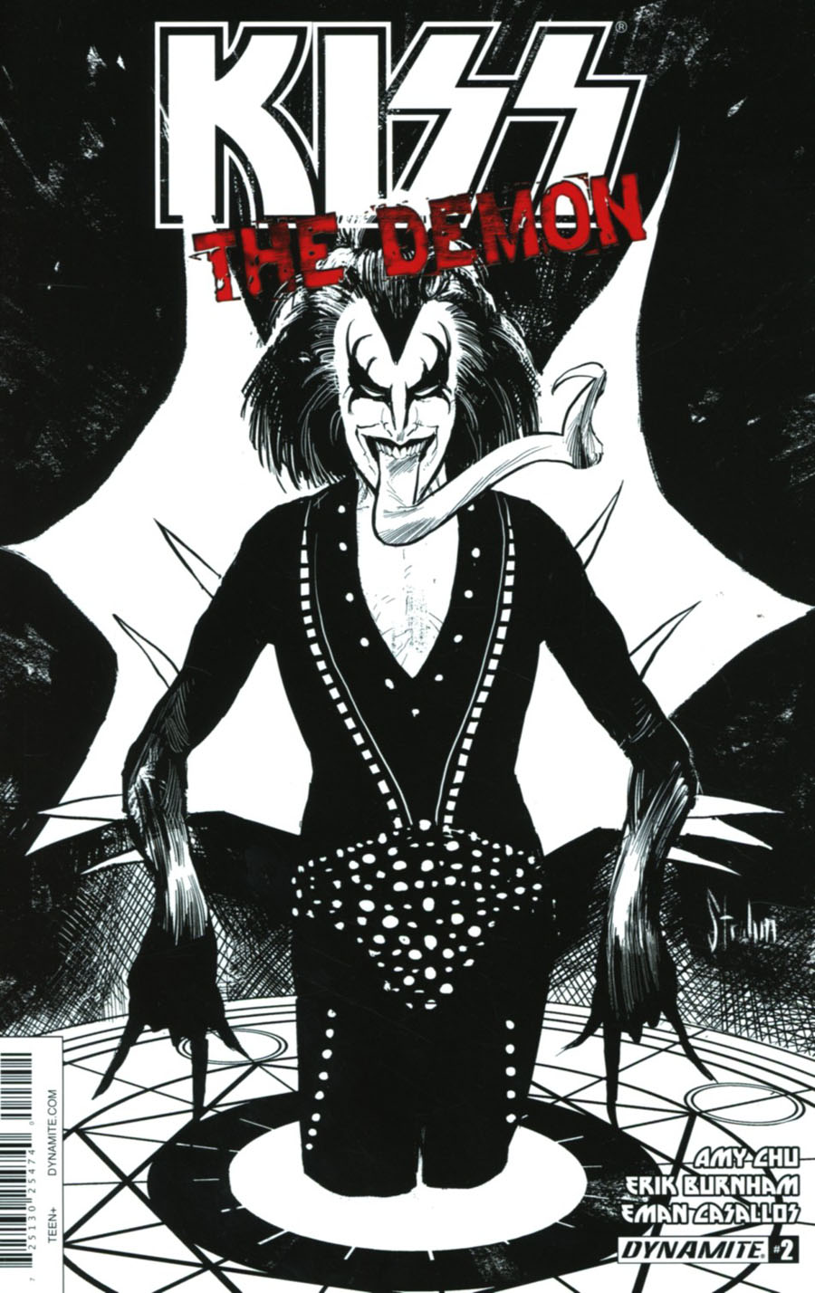 KISS The Demon #2 Cover E Incentive Kyle Strahm Black & White Cover