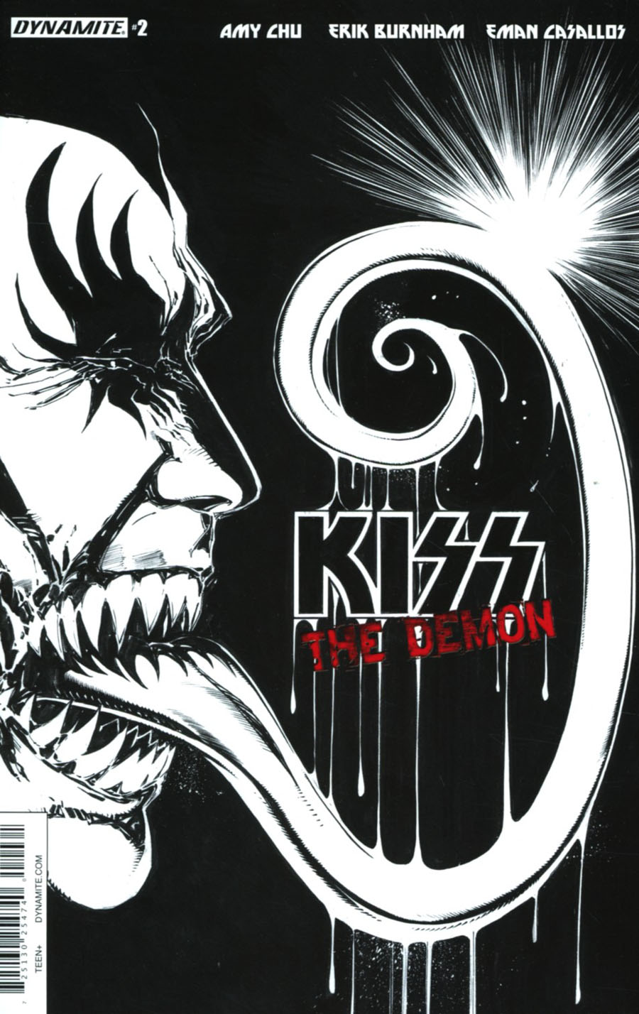 KISS The Demon #2 Cover F Incentive Tom Mandrake Black & White Cover