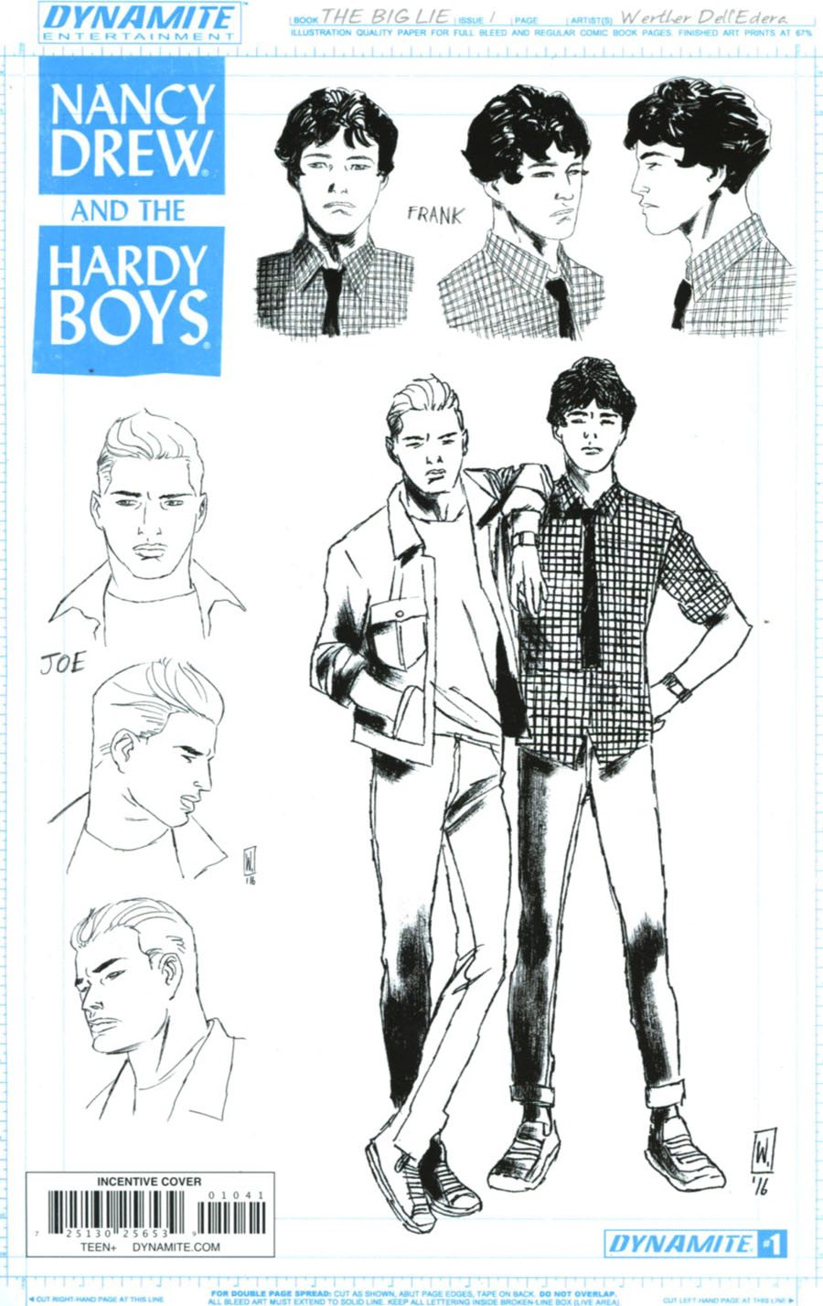 Nancy Drew And The Hardy Boys The Big Lie #1 Cover D Incentive Werther Dell Edera Hardy Boys Design Sketch Variant Cover
