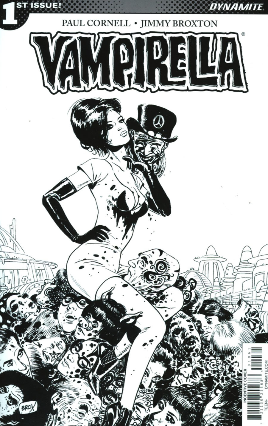 Vampirella Vol 7 #1 Cover F Incentive Jimmy Broxton Black & White Cover