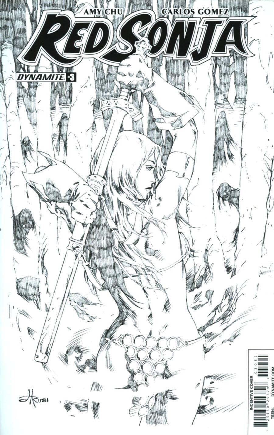 Red Sonja Vol 7 #3 Cover H Incentive Mel Rubi Black & White Cover