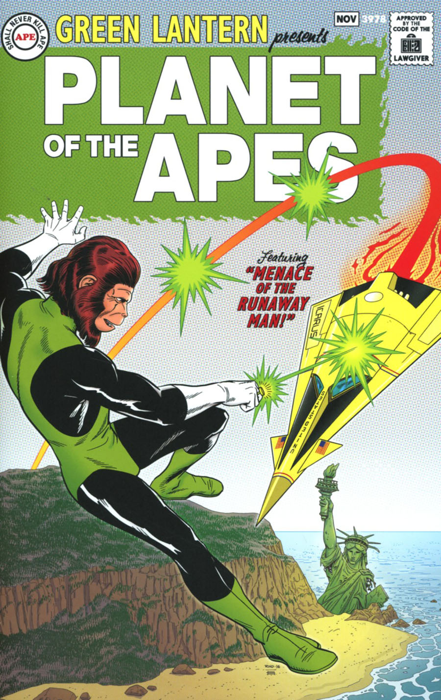 Planet Of The Apes Green Lantern #1 Cover E Incentive Paul Rivoche Silver Age Virgin Variant Cover