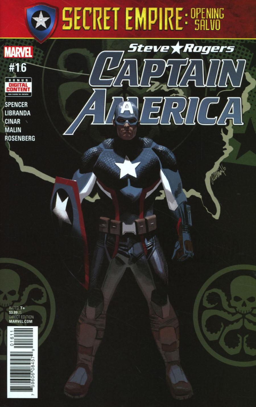 Captain America Steve Rogers #16 Cover A 1st Ptg Regular Daniel Acuna Cover (Secret Empire Prelude)