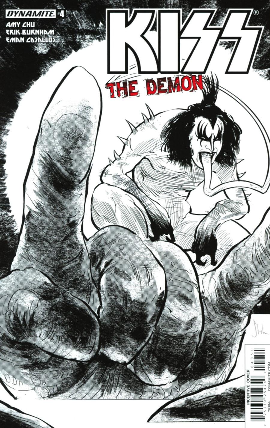 KISS The Demon #4 Cover E Incentive Kyle Strahm Black & White Cover