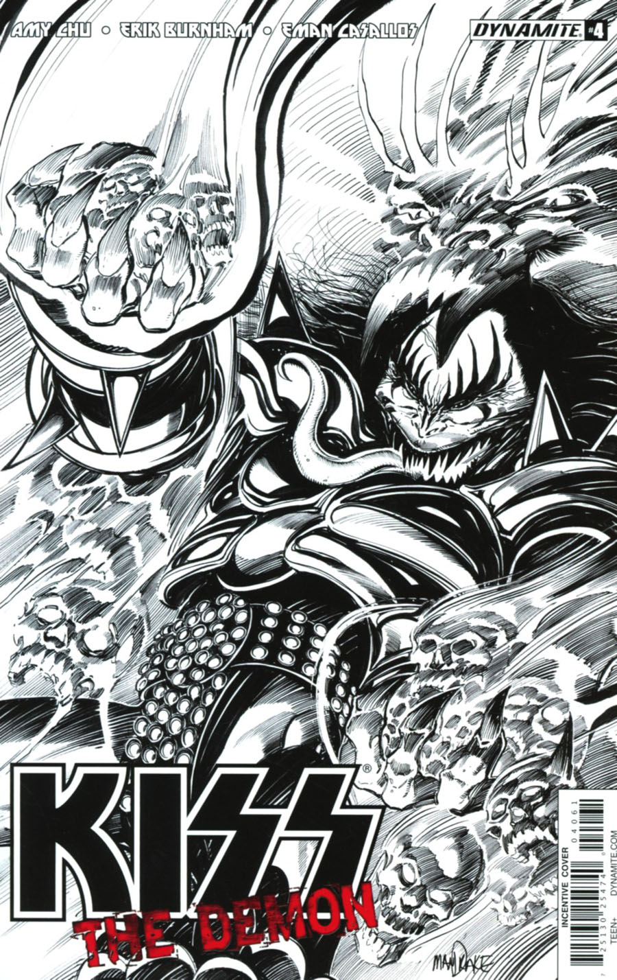 KISS The Demon #4 Cover F Incentive Tom Mandrake Black & White Cover