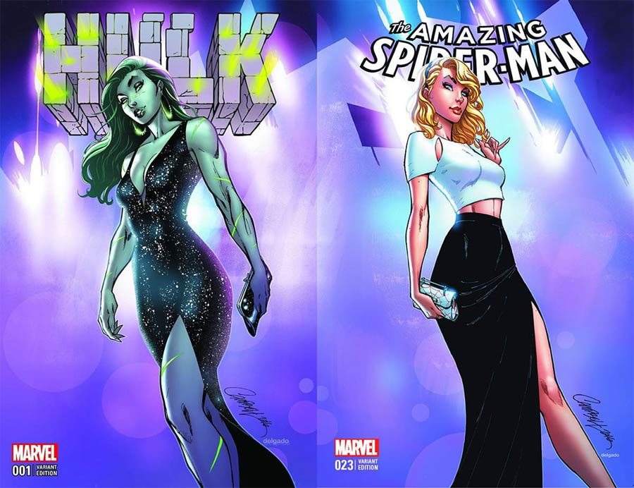 Hulk Vol 4 #1 / Amazing Spider-Man Vol 4 #23 DF Comicxposure Exclusive J Scott Campbell Color Variant Cover Set