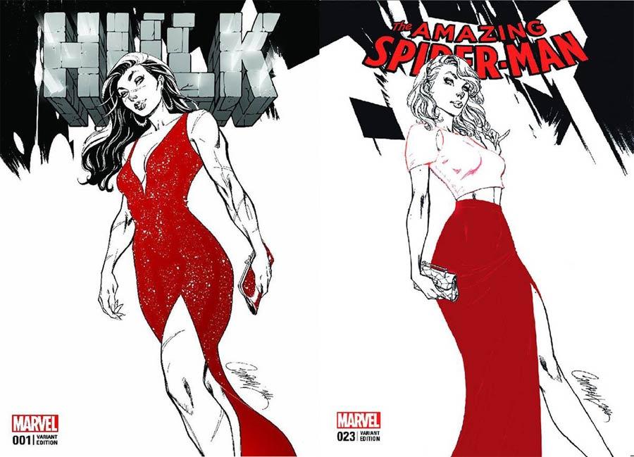 Hulk Vol 4 #1 / Amazing Spider-Man Vol 4 #23 DF Comicxposure Exclusive J Scott Campbell Black & White Variant Cover Set