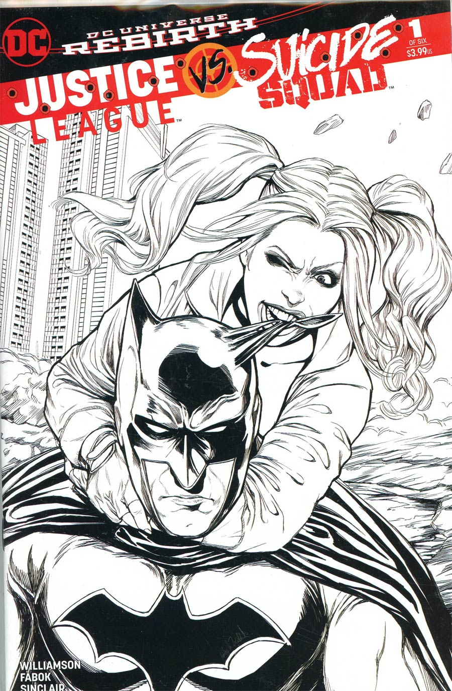 Justice League vs Suicide Squad #1 Cover M DF AOD Collectables Exclusive Ashley Witter Black & White Variant Cover