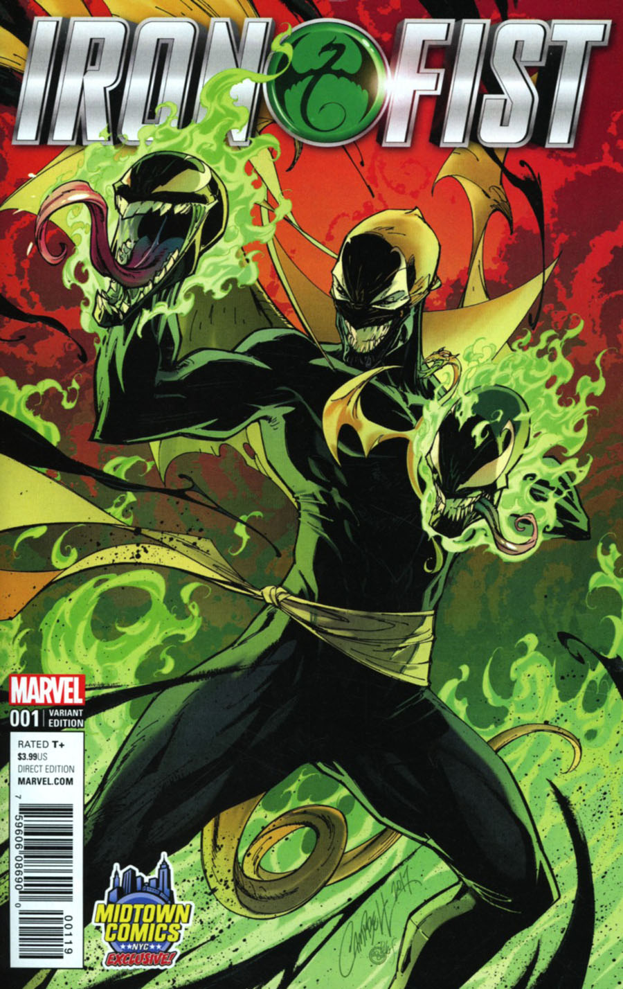 Iron Fist Vol 5 #1 Cover B Midtown Exclusive J Scott Campbell Venomized Color Variant Cover