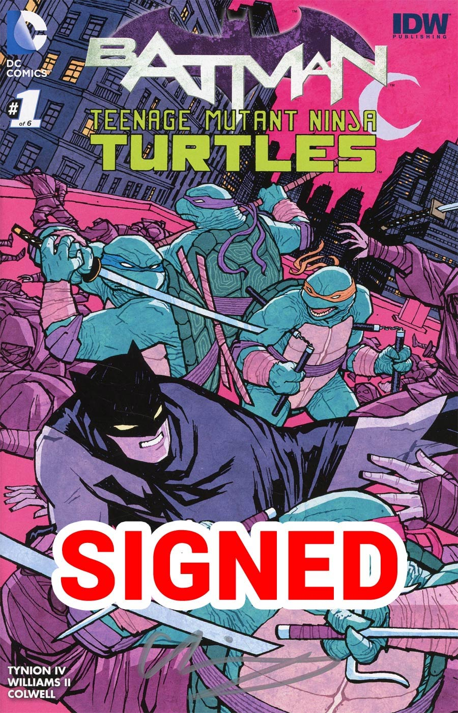 Batman Teenage Mutant Ninja Turtles #1 Cover T Midtown Exclusive Cliff Chiang Color Variant Cover Signed By Cliff Chiang