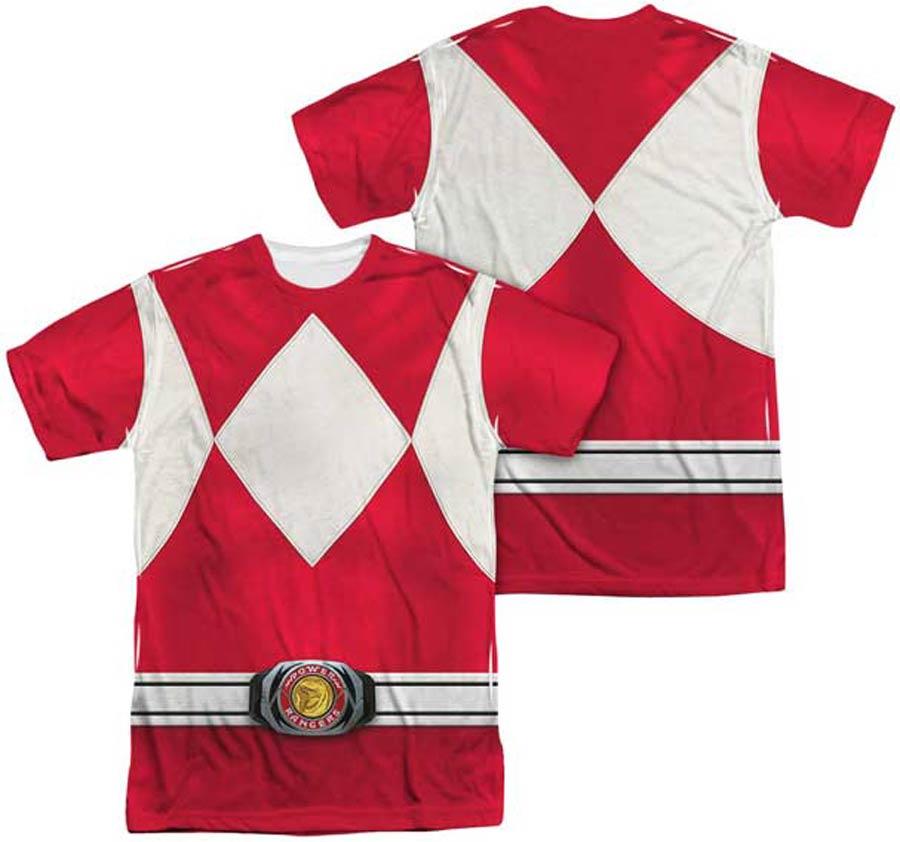 Mighty Morphin Power Ranger Red Ranger Costume Mens Sublimation T-Shirt Large