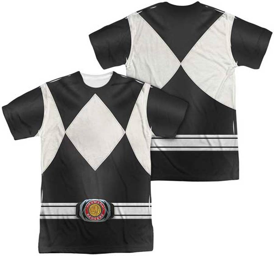 Mighty Morphin Power Ranger Black Ranger Costume Mens Sublimation T-Shirt Large