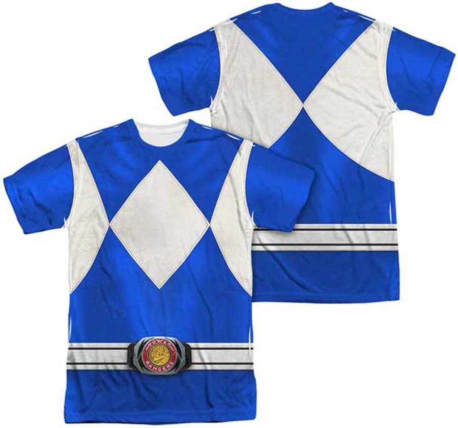 Mighty Morphin Power Ranger Blue Ranger Costume Mens Sublimation T-Shirt Large