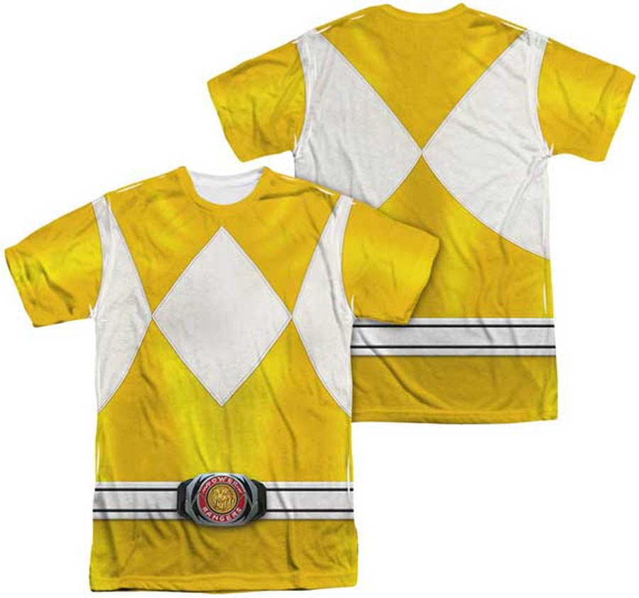 Mighty Morphin Power Ranger Yellow Ranger Costume Mens Sublimation T-Shirt Large