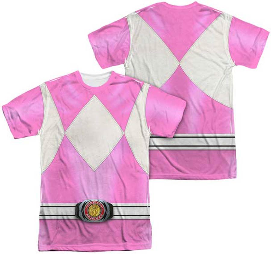 Mighty Morphin Power Ranger Pink Ranger Costume Mens Sublimation T-Shirt Large
