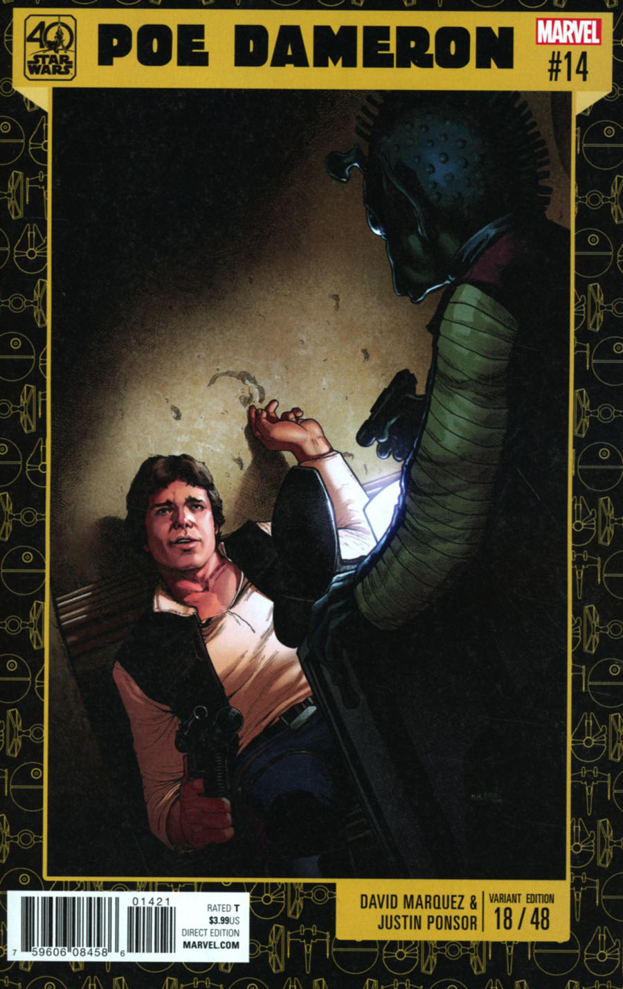 Star Wars Poe Dameron #14 Cover B Variant Dave Marquez Star Wars 40th Anniversary Cover
