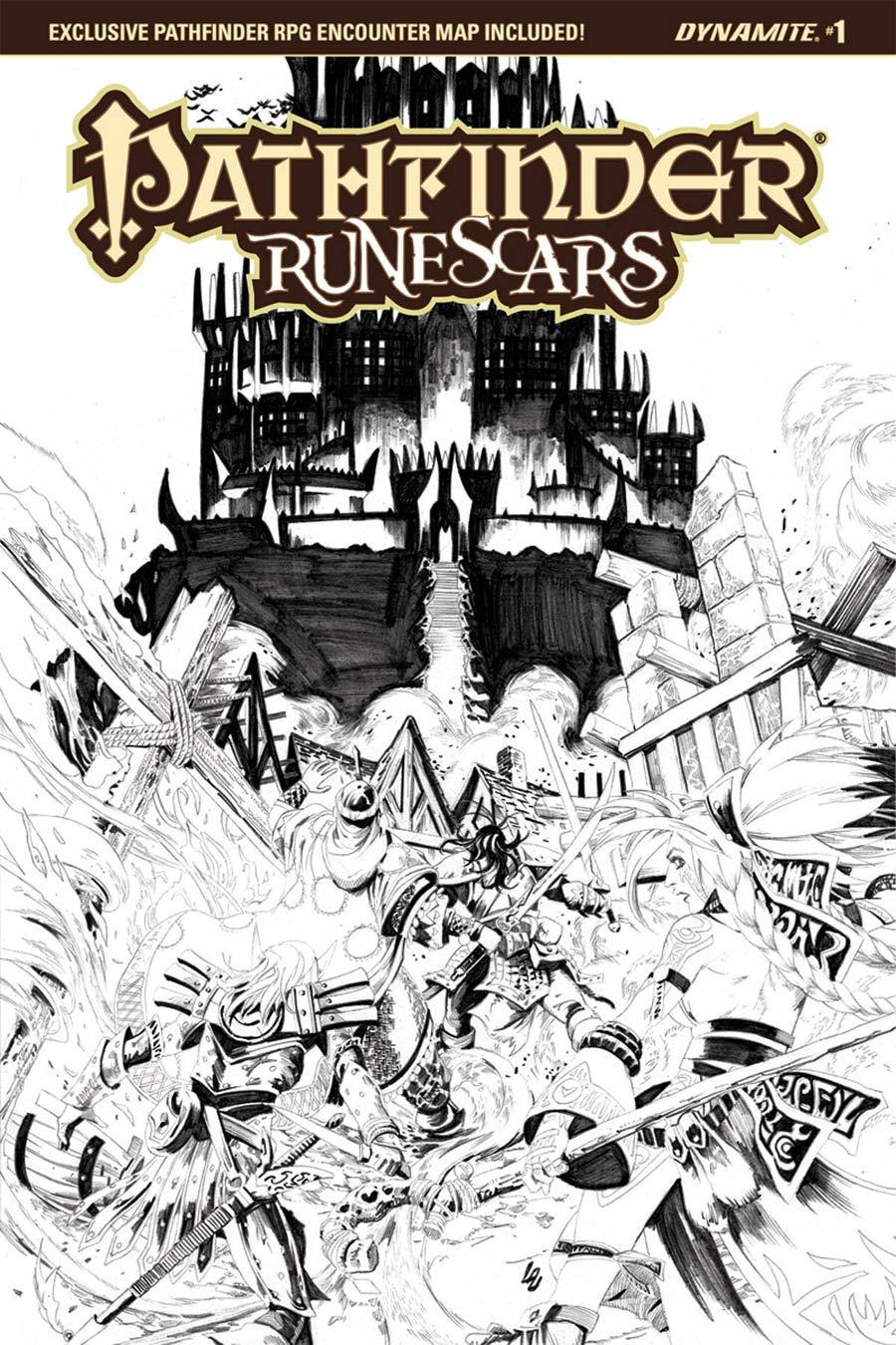 Pathfinder Runescars #1 Cover D Incentive Jonathan Lau Black & White Cover