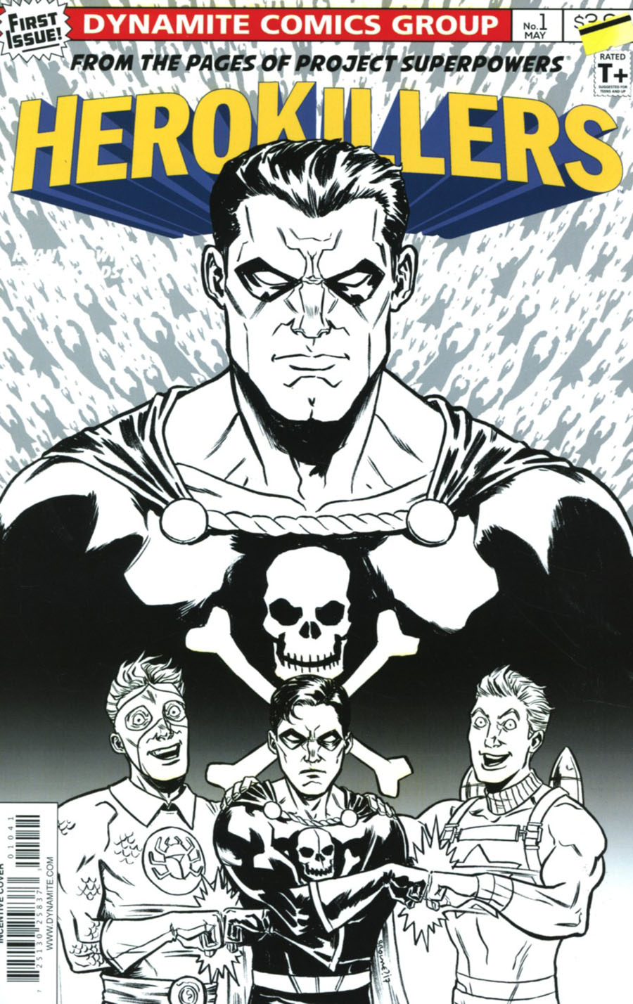 Project Superpowers Hero Killers #1 Cover D Incentive Ryan Browne Black & White Cover