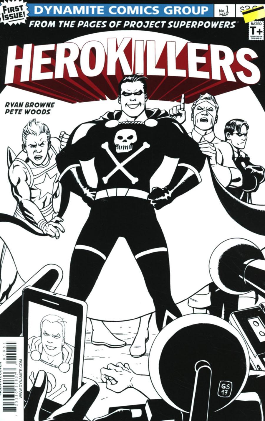 Project Superpowers Hero Killers #1 Cover E Incentive Goran Sudzuka Black & White Cover