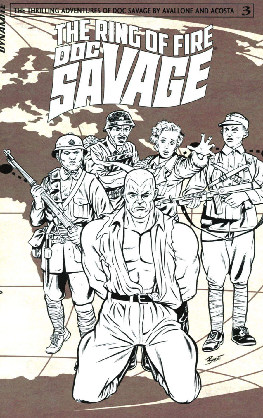 Doc Savage Ring Of Fire #3 Cover C Incentive Brent Schoonover Black & White Cover
