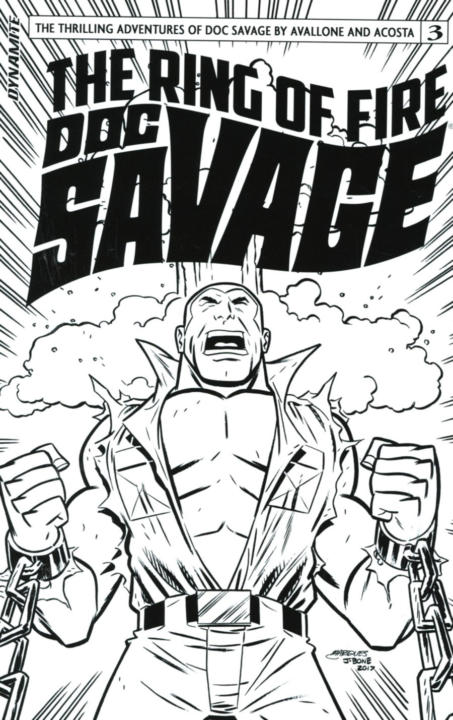 Doc Savage Ring Of Fire #3 Cover D Incentive Anthony Marques Black & White Cover