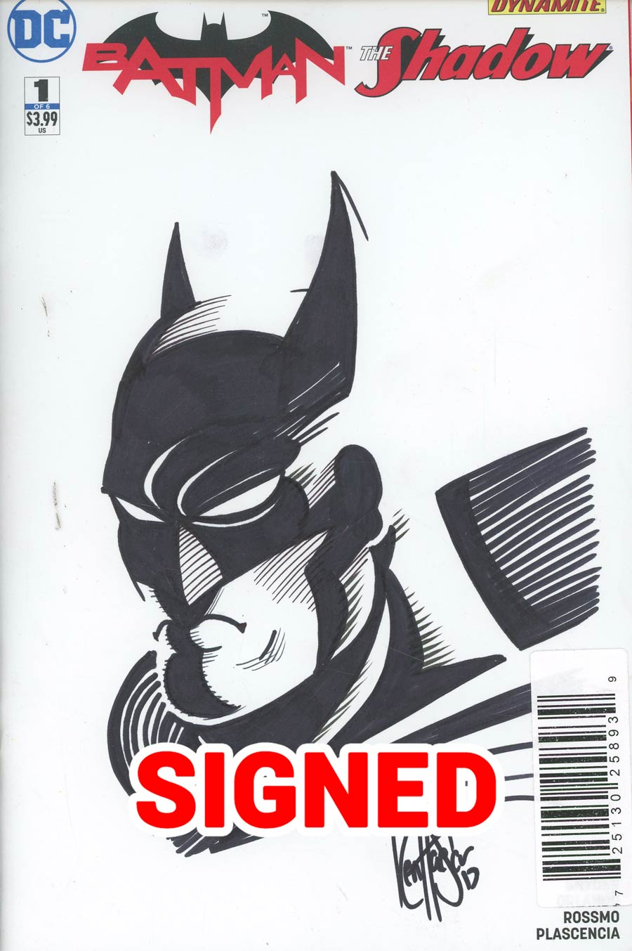 Batman The Shadow #1 Cover H DF Signed & Remarked With A Batman Sketch By Ken Haeser