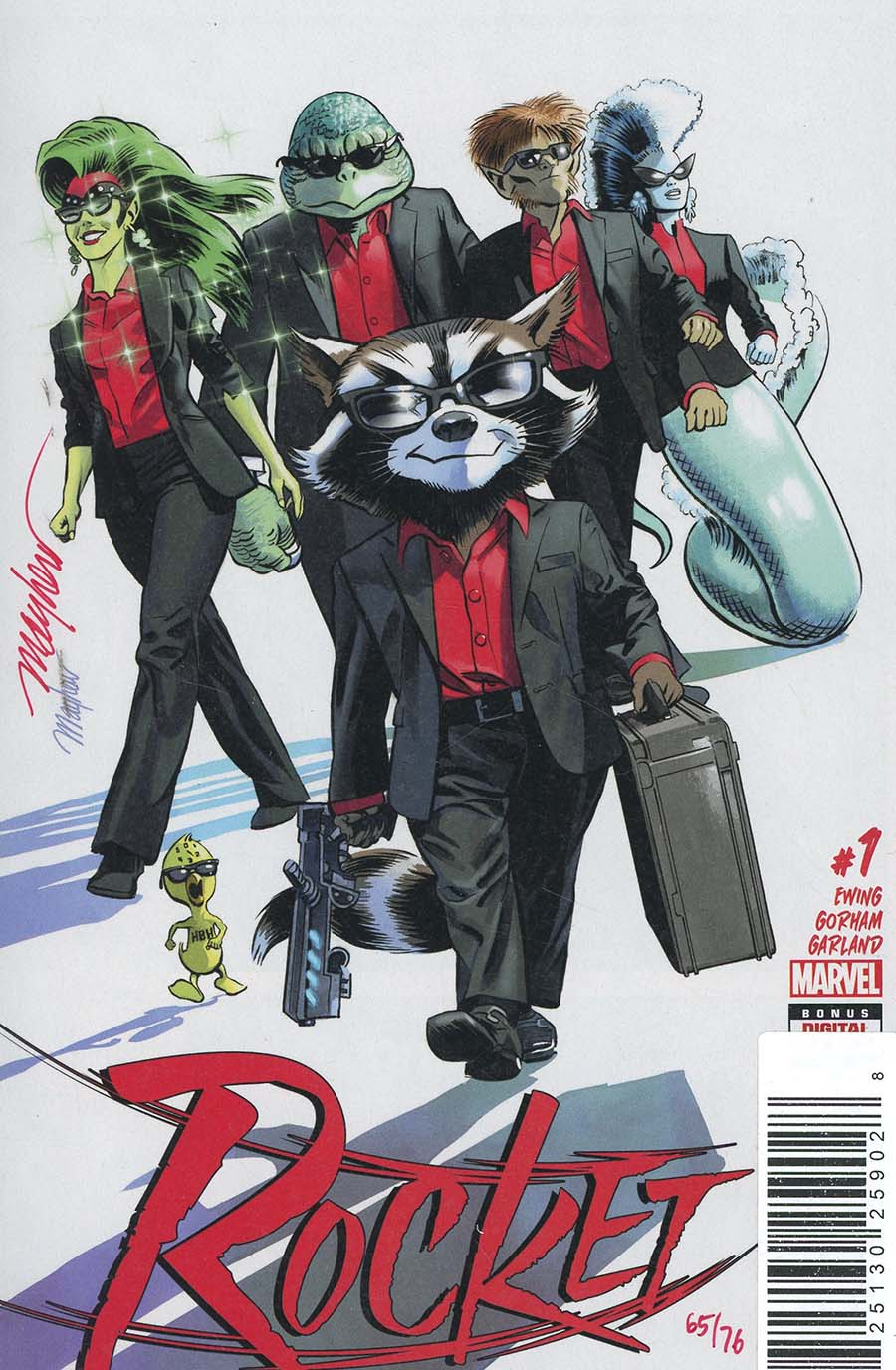 Rocket #1 Cover G DF Signed By Mike Mayhew