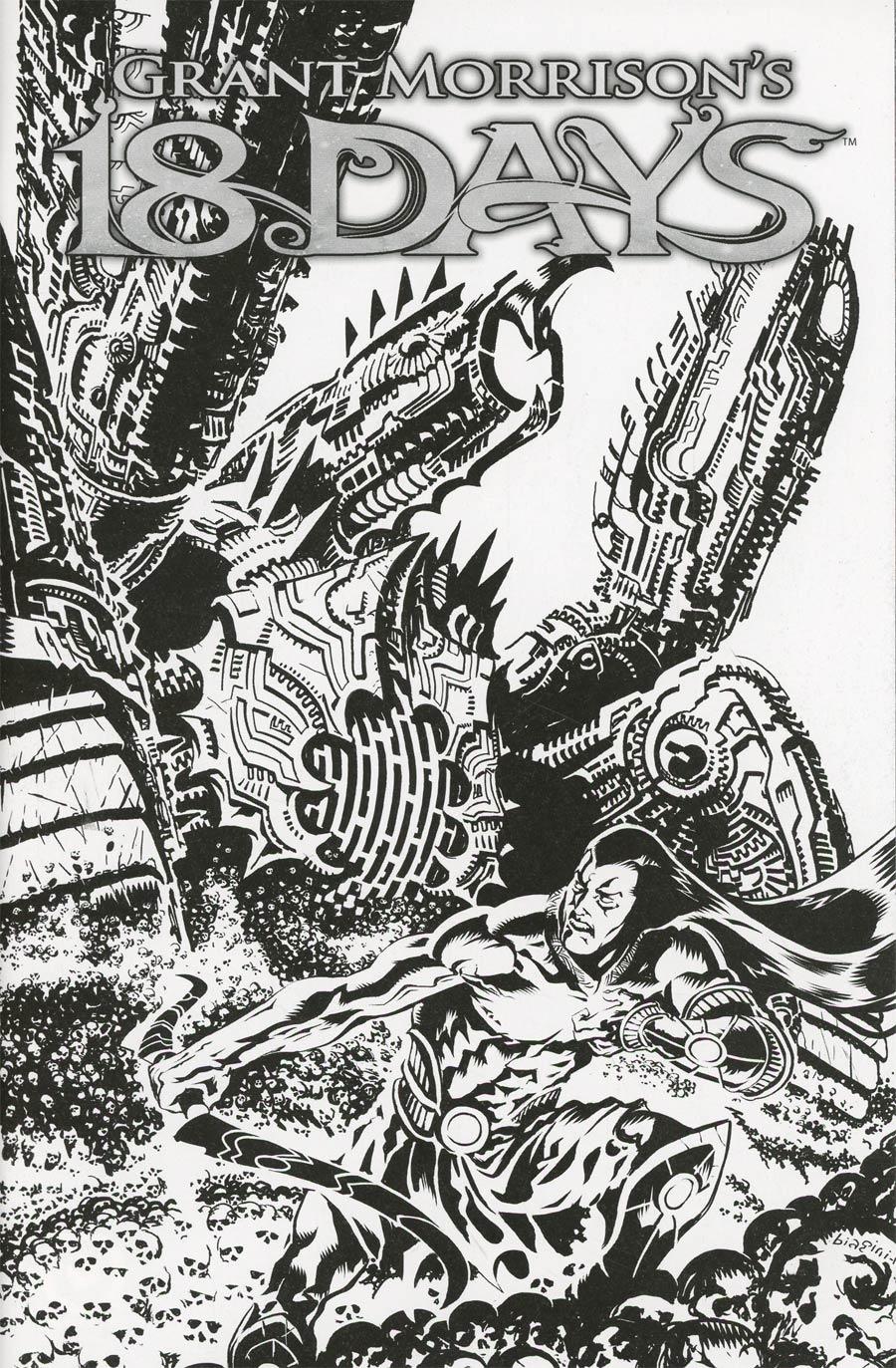 Grant Morrisons 18 Days #24 Cover C Variant Francesco Biagini Limited Black & White Cover