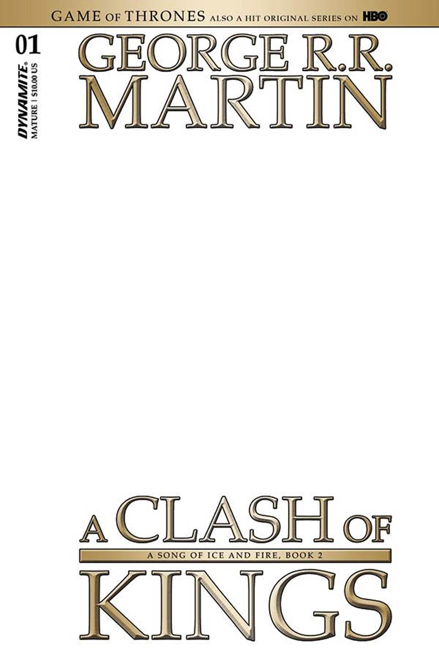 Game Of Thrones Clash Of Kings #1 Cover K Variant Blank Authentix Cover